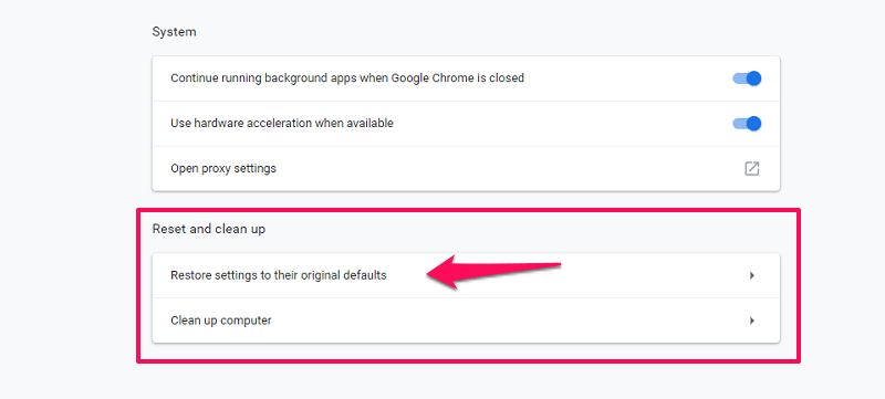 restore original settings on chrome