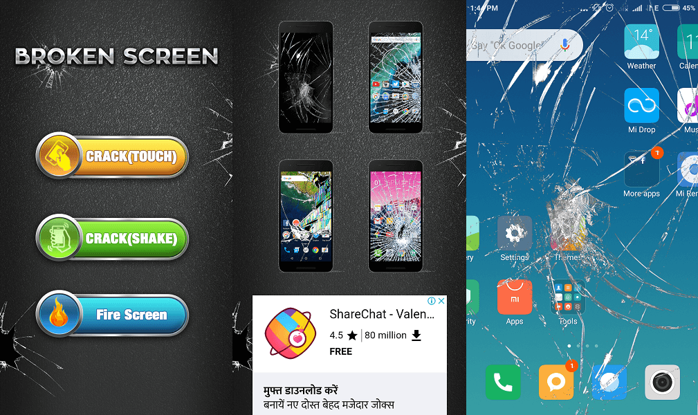 Broken screen app