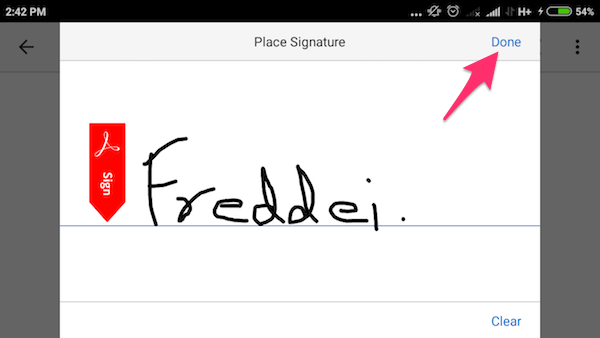 Create sign for PDF