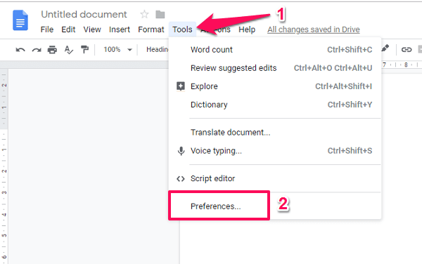 Google docs - preferences menu