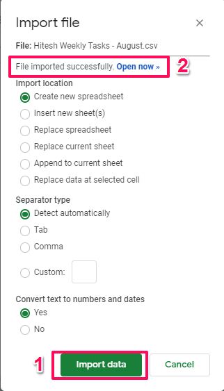Google sheets - import data