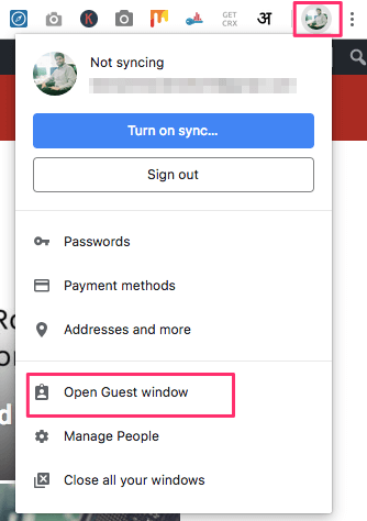 Open Guest Window Chrome