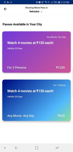 Paytm for movie pass in india