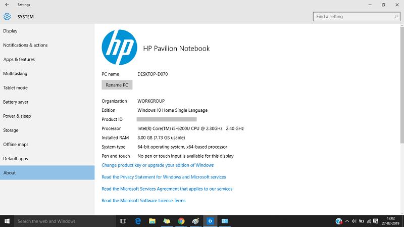 Windows 10 - About windows