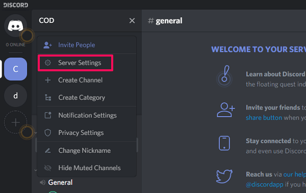 discord server settings
