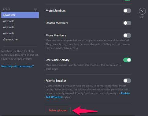 delete roles on discord