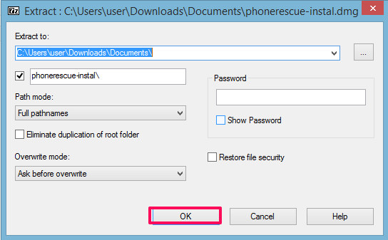 extract dmg in windows