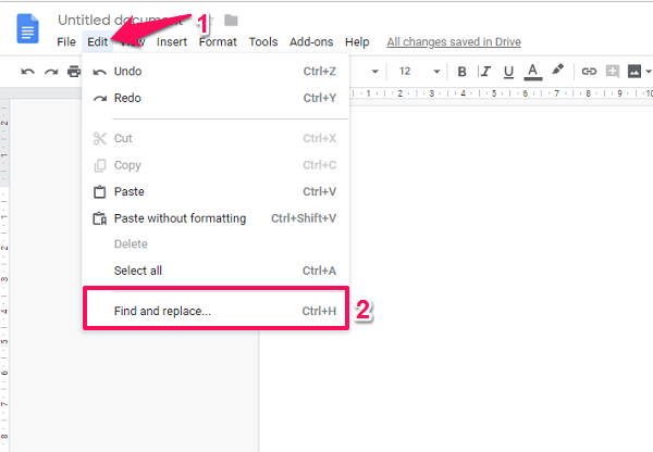 find and replace em dash in google documents