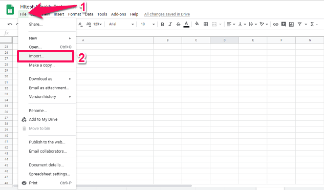 import CSV to Google Sheets