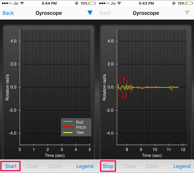 test sensors - iOS