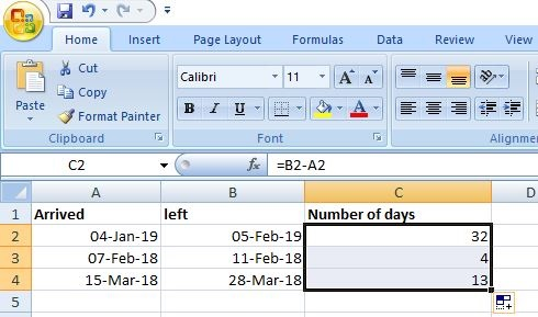 Count Number of Days in Excel