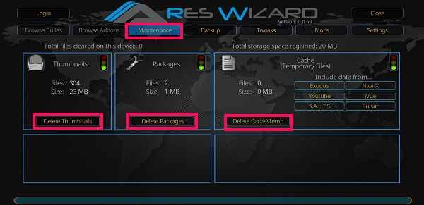 Clear cache in kodi - Ares Wizard