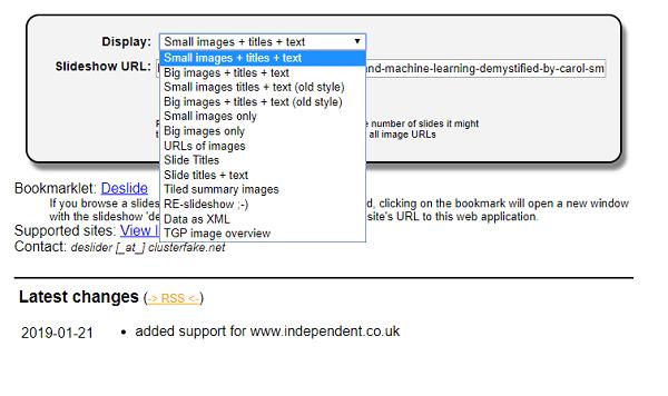 Display website format