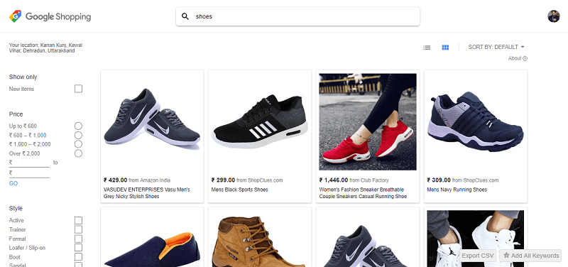 Google shopping - website to compare price online