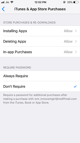 Itunes and app store purchases restrictions