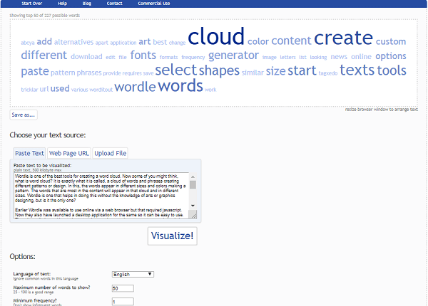 TagCrowd - word cloud generator