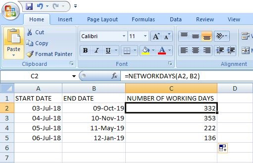 NETWORKDAYS() Function