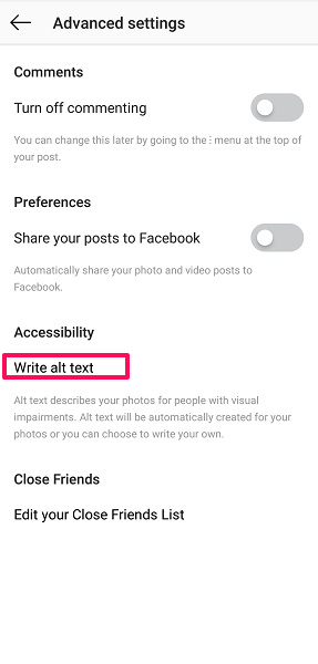 Write Alt text for posts - Instagram tips and tricks