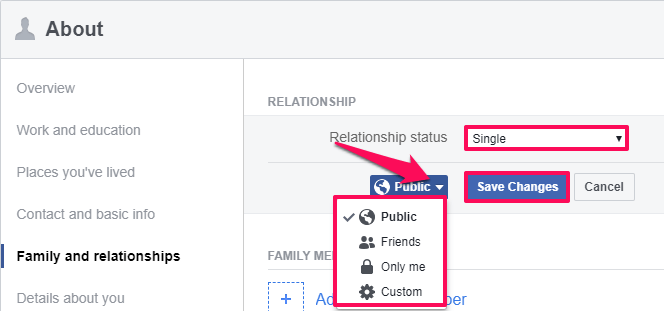 change relationship status privacy