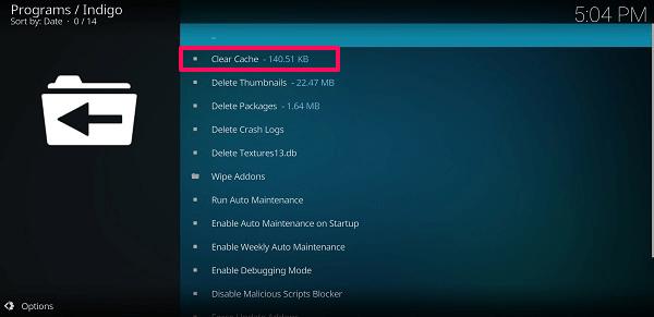 clear cache - Indigo kodi