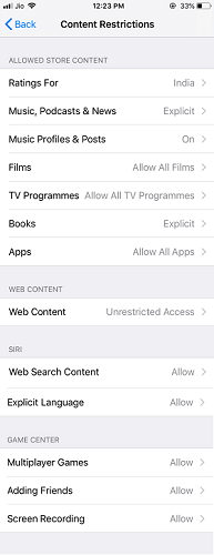 content restriction on iOS