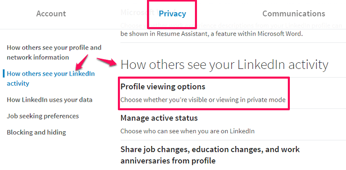 linkedin profile viewing options