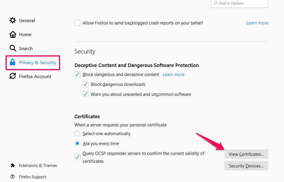 private & security settings - firefox