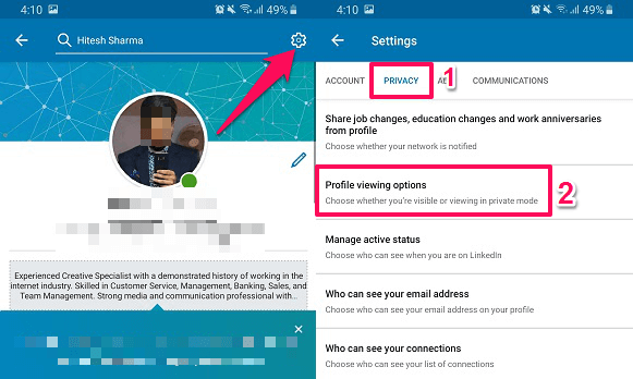 profile viewing options - linkedIn mobile application