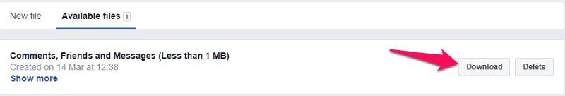 Download Facebook profile data