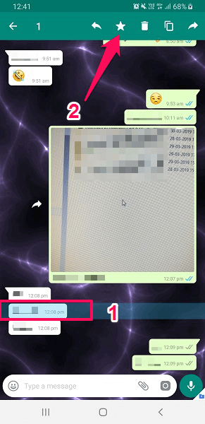 star or bookmark conversation in WhatsApp on Android