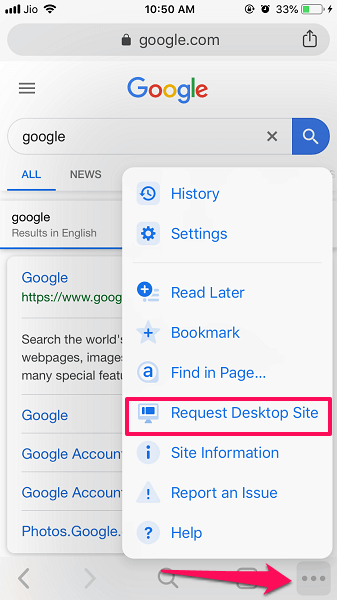 Request Desktop site in Chrome browser on iOS
