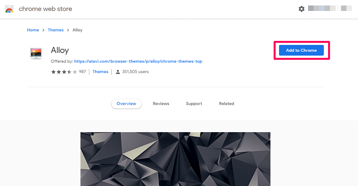 add themes to chrome from Web store