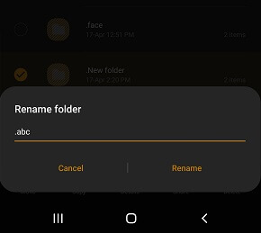 create hidden folder on Android