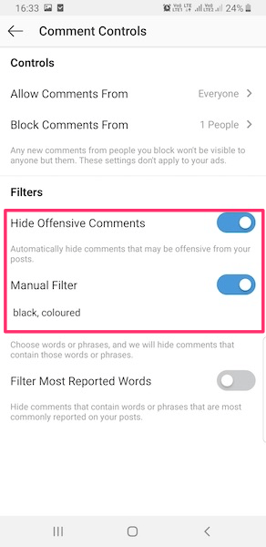 Toggle Hide Offensive Comments switch to On to hide offensive comments