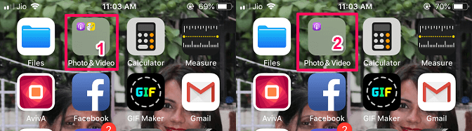 hide apps on iOS by creating a folder