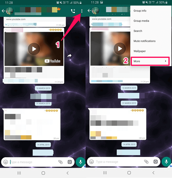More option in WhatsApp Chat