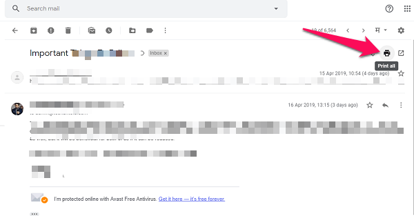 how to print email thread from gmail