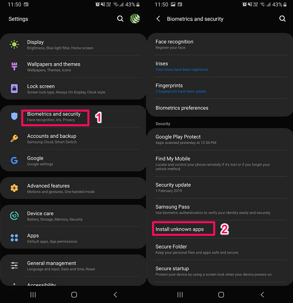 install apps not on Play Store - enable unknown sources