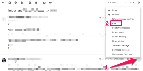 print single email from thread in Gmail