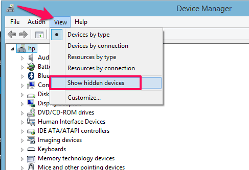 show hidden devices - device manager