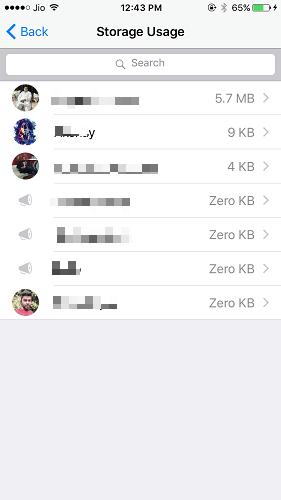 whatsapp storage usage