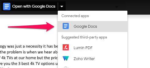 Open with Google Docs option
