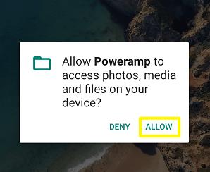 Poweramp permissions