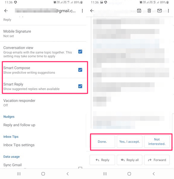 Smart Reply and compose in Gmail