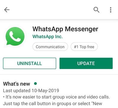 Update WhatsApp to fix slow WhatsApp