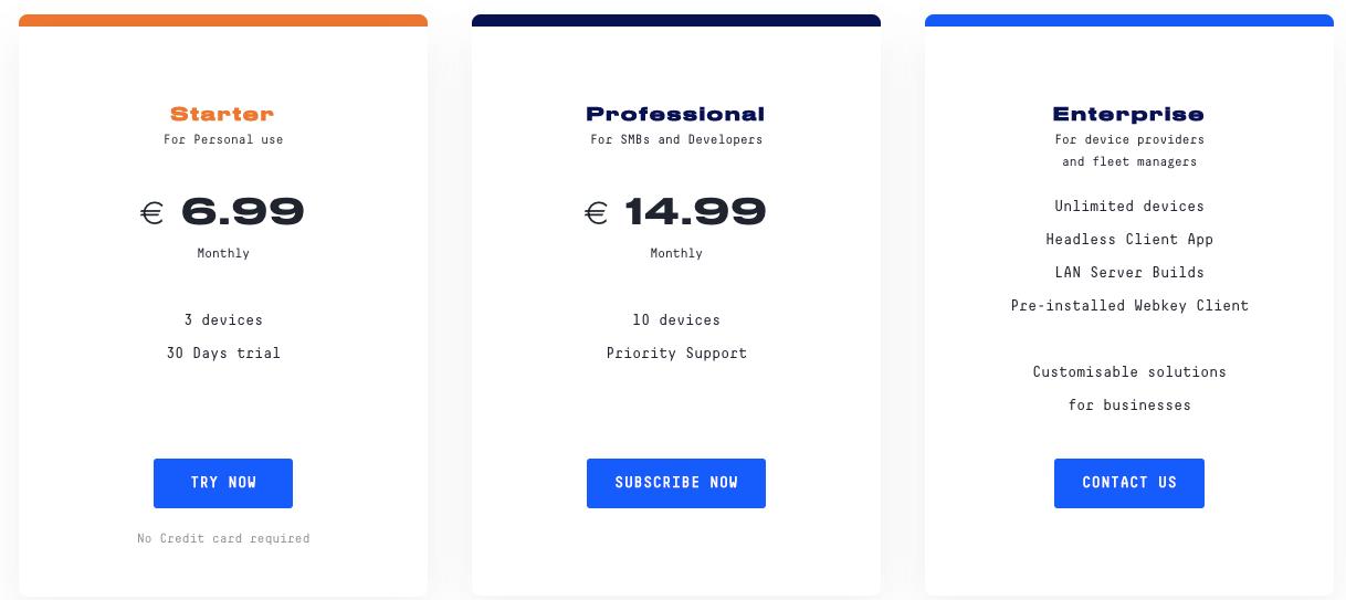 Webkey Pricing