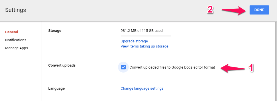 automatically convert new Word file to google doc