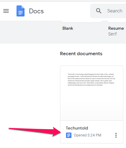 Word file converted to Google doc