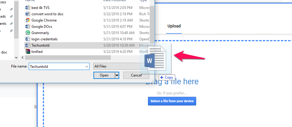 drag file