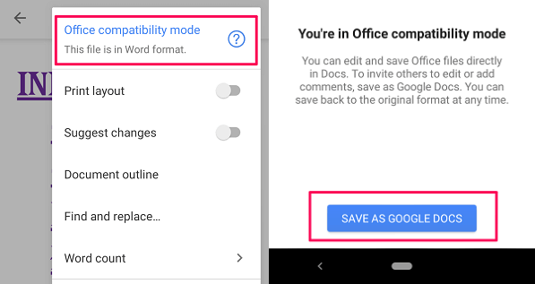 Convert Word to Google Doc using app